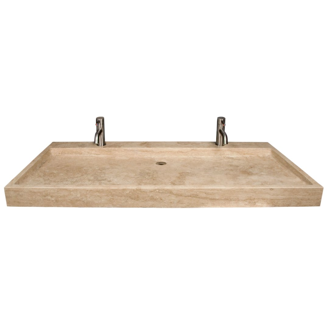 polished beige travertine trough sink