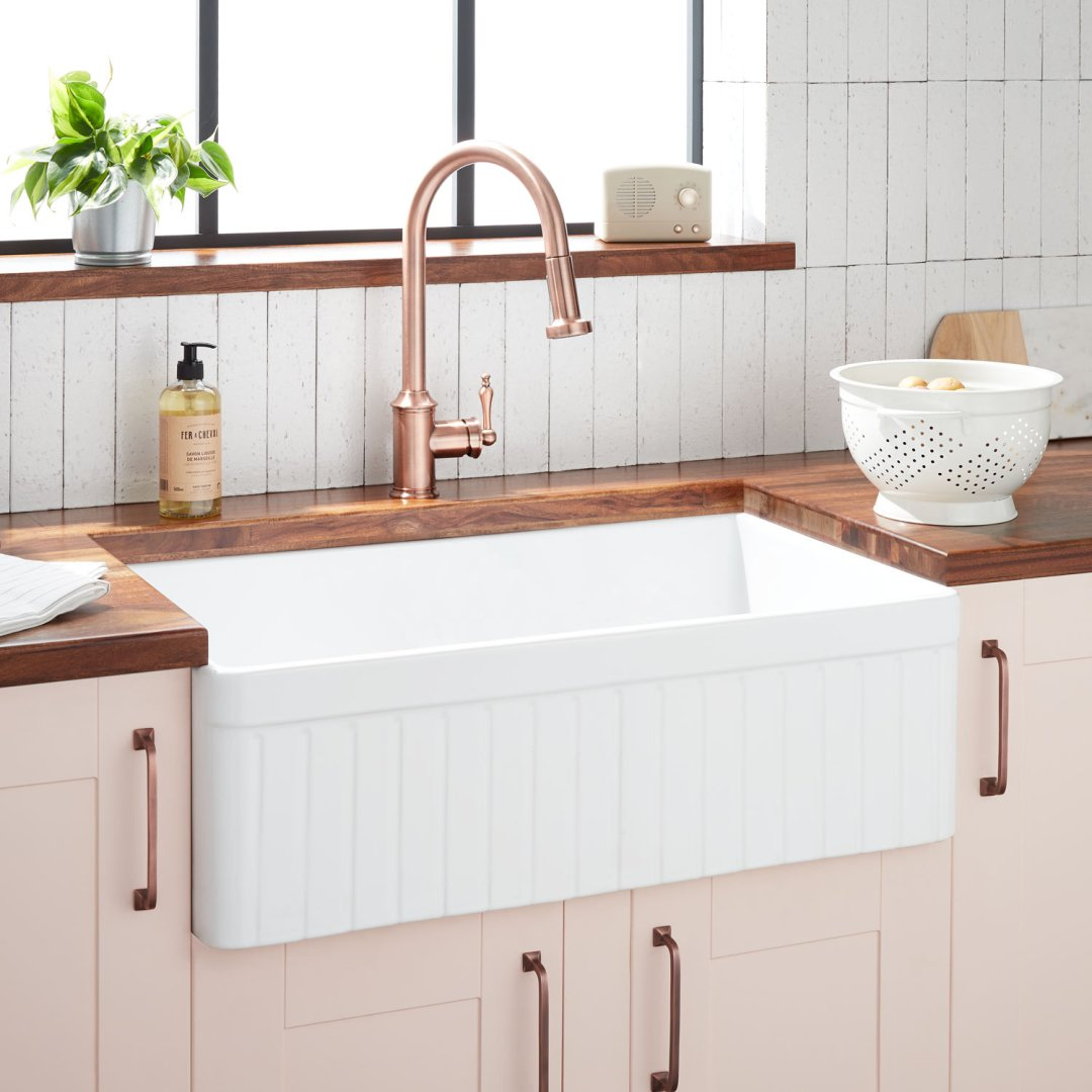 33 curington fireclay farmhouse sink fluted apron white