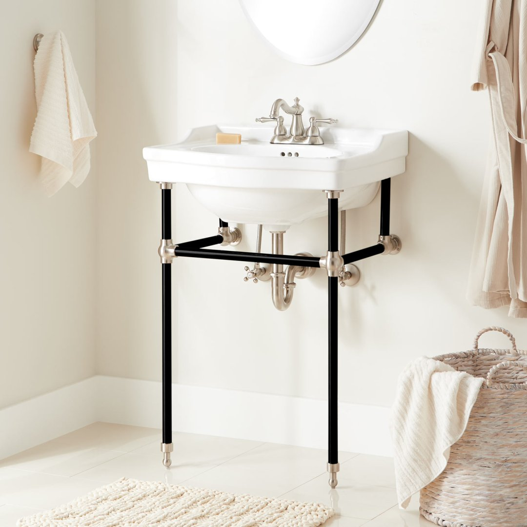 24 cierra console sink with brass stand black brushed nickel