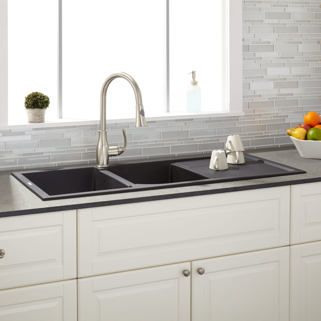 46 tansi double bowl drop in sink with drain board black