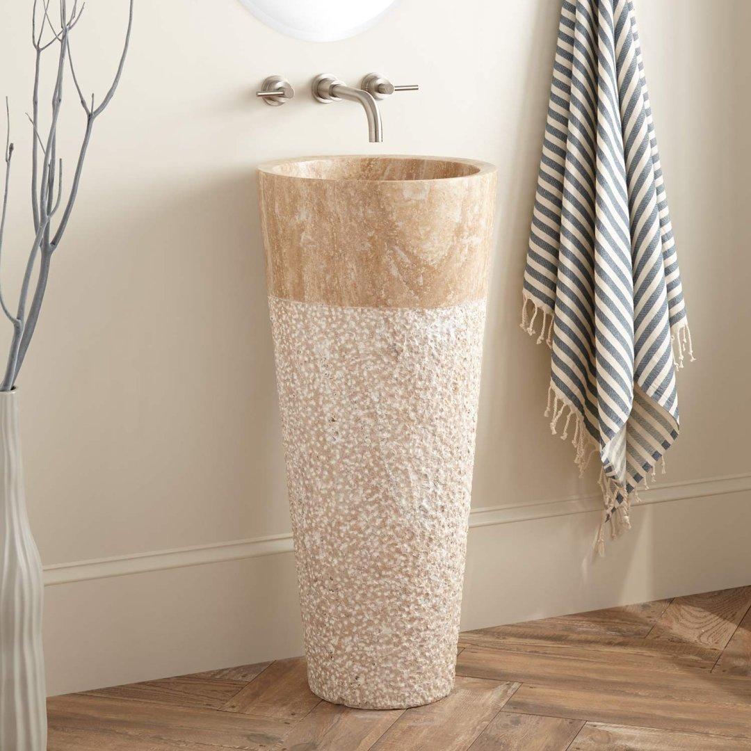 winchester beige travertine pedestal sink