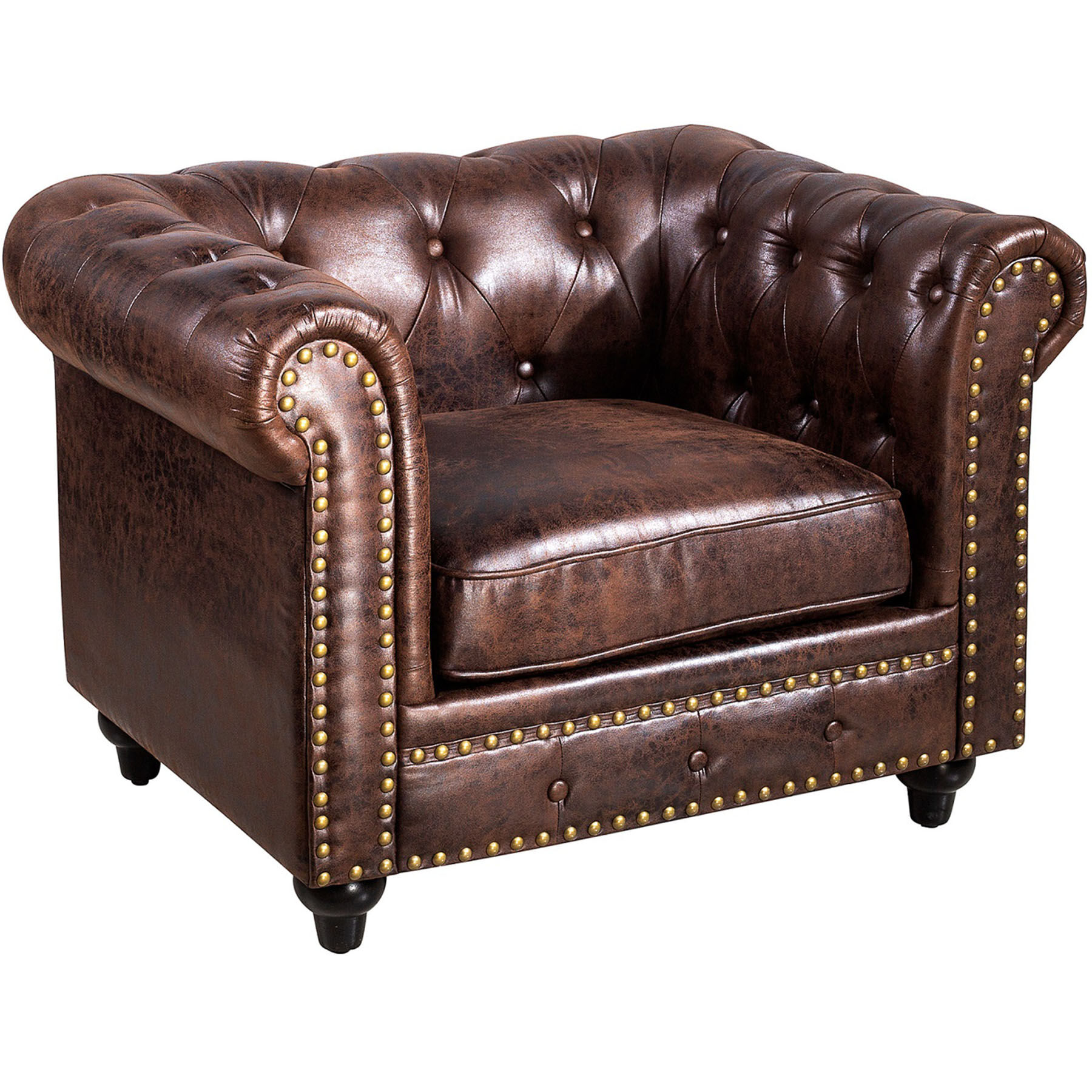 Chesterfield Tufted Chair Brown At Home 4 2 1
