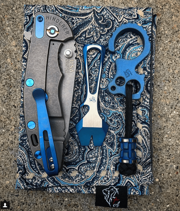 Hinderer XM18 knife, Knife Guys Impact Tool, Koch Tools Culprit and bead, Lion Tribe Armory hank