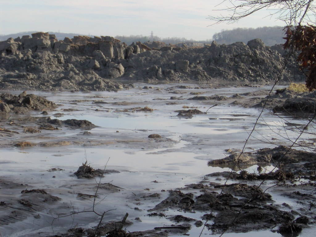 View of a 2008 fly ash spill from the Tennessee Valley Authority Kingston Fossil Plant. Fly ash is one of many hazardous substances included in the category of coal ash. Photo by Brian Stansberry. Click to enlarge.