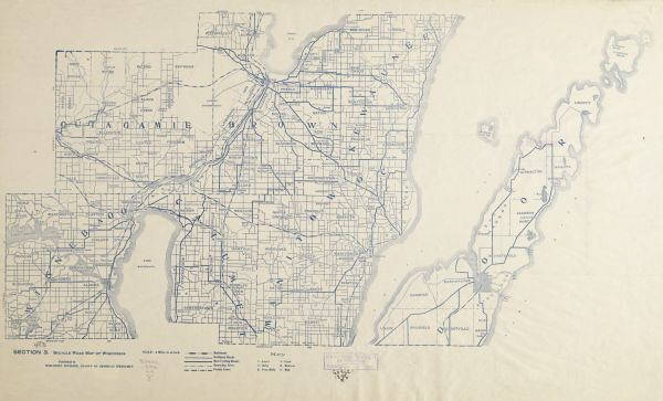 """1890s bicycling """"road maps"""" like these point to a preponderance of street networks in Wisconsin, and well before the arrival of automobiles. (Wisconsin Historical Society)"""