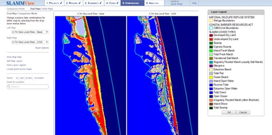 SLAMMView: An increase of 0.7 meters by 2100—predicted under the IPPC Scenario A1B Maximum—would transform coastal habitats. The above image depicts the current and projected habitat at Pea Island National Wildlife Refuge along the Outer Banks of North Carolina, an important nesting habitat for migratory birds.