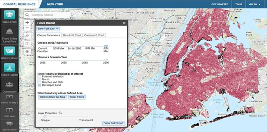 """Coastal Resilience Mapping Portal: Highly exploratory """"what-if"""" interfaces help policymakers and citizens understand potential futures. The above image shows flooded developed land (in black) in New York City under one """"what-if"""" scenario, a hypothetical future that can be compared directly to past events, such as Hurricane Sandy."""