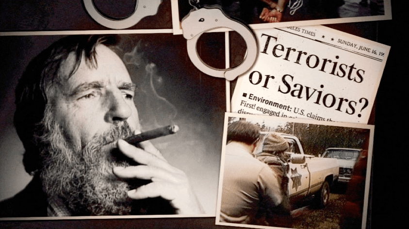 Director ML Lincoln uses archival sources like photos, news clips, and audio recordings to bring Abbey to life. Image credits: Abbey with cigar, Richard Byrd; Newspaper, Los Angeles Times; Earth First! Arrest, NBC Universal Archives; screen shot taken from Wrenched.
