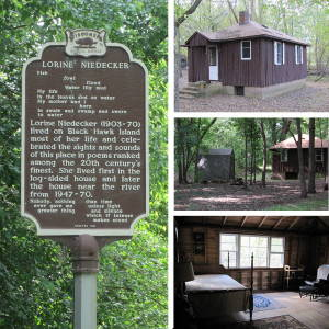 Niedecker cabin and sign. Photos by Steel Wagstaff. Click to enlarge.