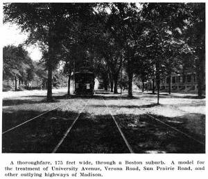 Nolen recommended an extensive system of street railways closely regulated by municipal authorities. University of Wisconsin Digital Collections.