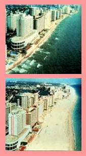 Before and after photos of beach restoration along the Florida coastline. The 1981 Miami Beach nourishment project deposited 12 million tons of sand on the shoreline. Constant mountainous is required but Dade County had run out of borrow areas directly offshore. Photo by U.S. Geological Survey.