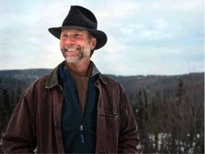 Photograph of John Luther Adams in the Alaskan wilderness. Image by Evan Hurd for Cantaloupe Music.