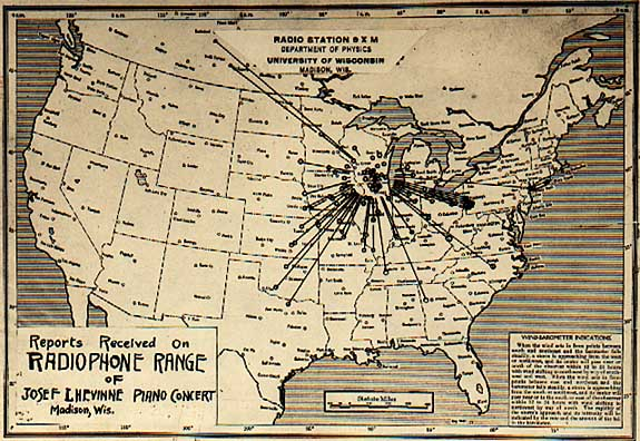 A map showing the physical location of listeners who reported receiving a transmission of a live piano concert broadcast from station 9XM. Image courtesy of the University of Wisconsin Archives.