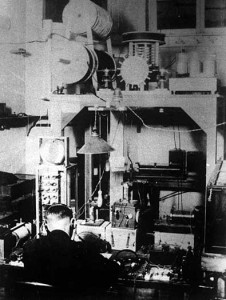 An early photograph of the 9XM radio station in the basement of Science Hall. Image courtesy of the University of Wisconsin Archives.