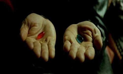 """""""You take the red pill."""" Screenshot from the film The Matrix."""