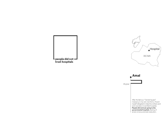 Figure 5: The second map in Amal's series introduces the first border—the walls of the hospital—discussed in Amal's story. By Meghan Kelly.