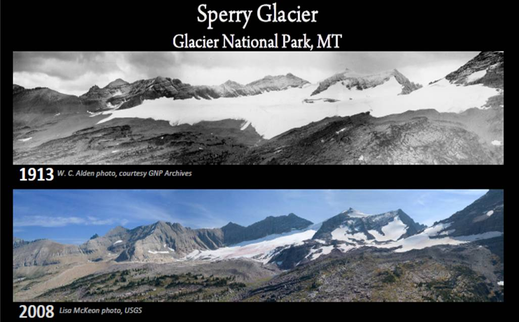 Comparison photos showing the Sperry Glacier in 1913 and 2008. From the U.S. Geological Survey/Glacier National Park.