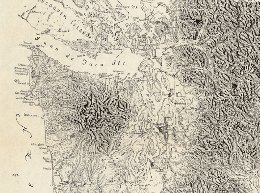 Puget Sound and the Olympic Peninsula, as drawn by cartographer Erwin Raisz in 1941. Image from Wikimedia Commons.