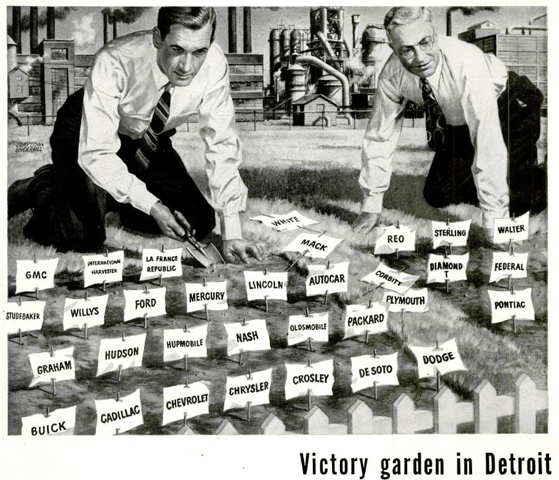 Images like this one, featured in a 1941 issue of Life magazine, drew on the symbol of the victory garden to link American companies to the war effort. Life, March 20, 1944.