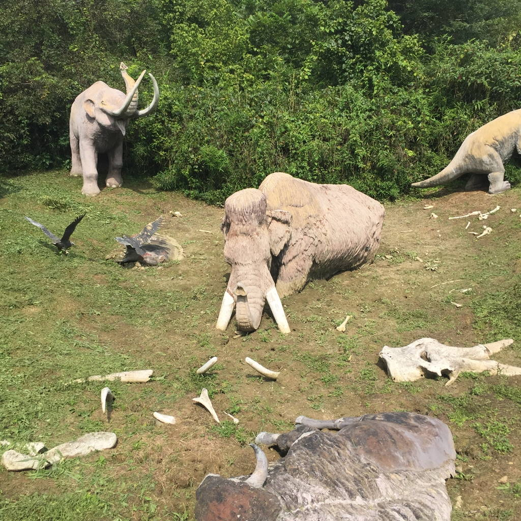 Life-sized diorama of ice age megafauna trapped in a salt lick at Big Bone Lick. Photo by the author.