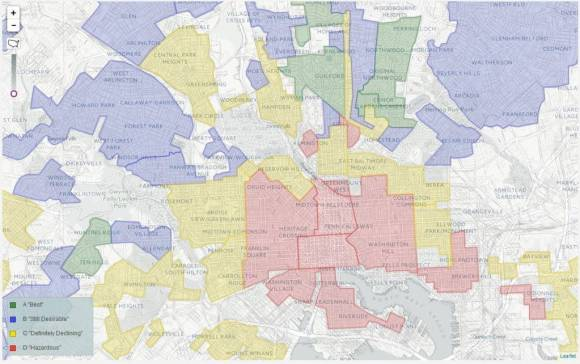 """A Homeowner's Loan Corporation map for New Orleans shows how much of the housing in the inner city was """"redlined"""" – systematically disfavored for financial services.The suburban development of Roland Park is located at the top center of the map. Digital Scholarship Lab, Mapping Inequality."""