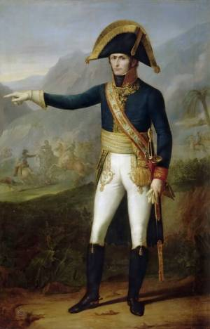 A colonial French general stands over a valley pointing to the left.
