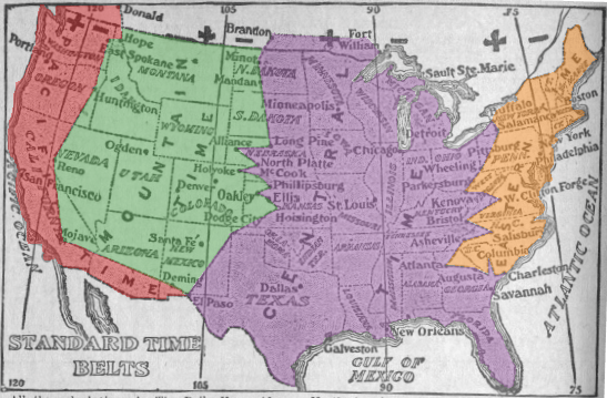 The map of Standard Time in 1913 showing temporal borders that zigzagged between cities with unclear boundaries in between. Wikimedia Commons.