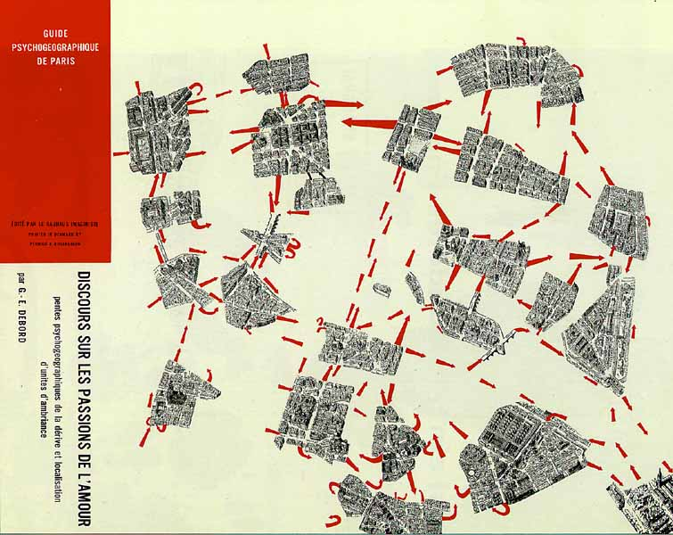 A drawing of urban maps that are separated from one another with red dashed lines connecting some.