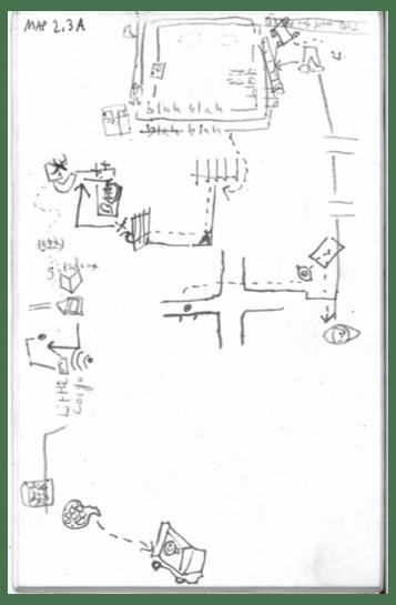 A pencil-drawn psychogeographic map.