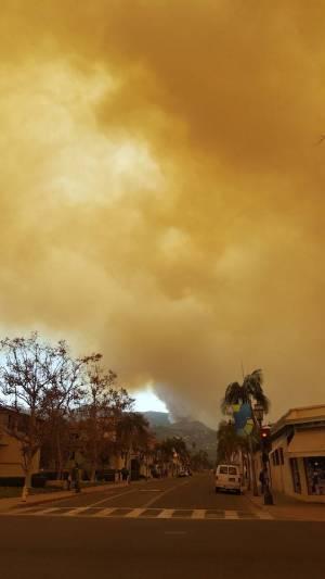 Smoke over downtown Santa Barbara