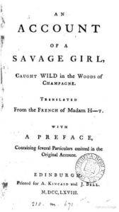 Cover page, Account of a Savage Girl