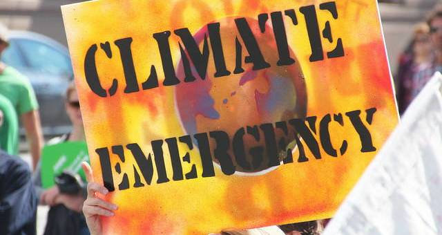 """The protester's sign, which reads """"Climate Emergency,"""" takes up the whole frame. The sign includes the shape of the Earth, an orange and red background, and stark black lettering in the foreground."""