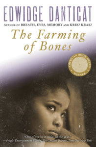 Cover of novel, Farming of Bones, featuring close up photograph of a young girl