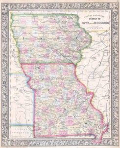 Iowa is outlined in green and Missouri is outlined in Red.