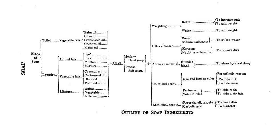 """A horizontal diagram tree with sections of """"kinds of soap"""" (toilet soap and laundry soap), the type of fat used, akalis, and use."""