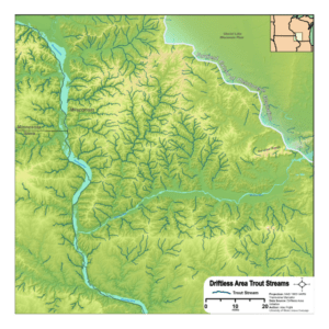A map shows the watery world of the Driftless Area.