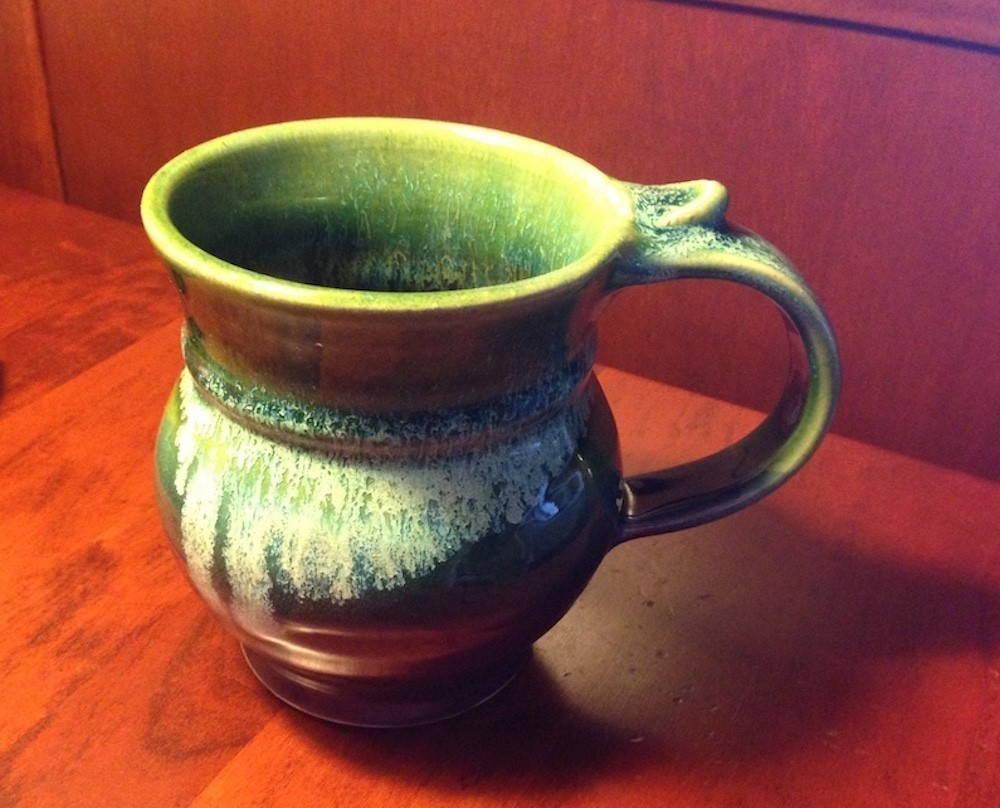 a green mug