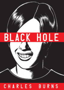 Black and white book cover with the title, Black Hole, written across a red banner.