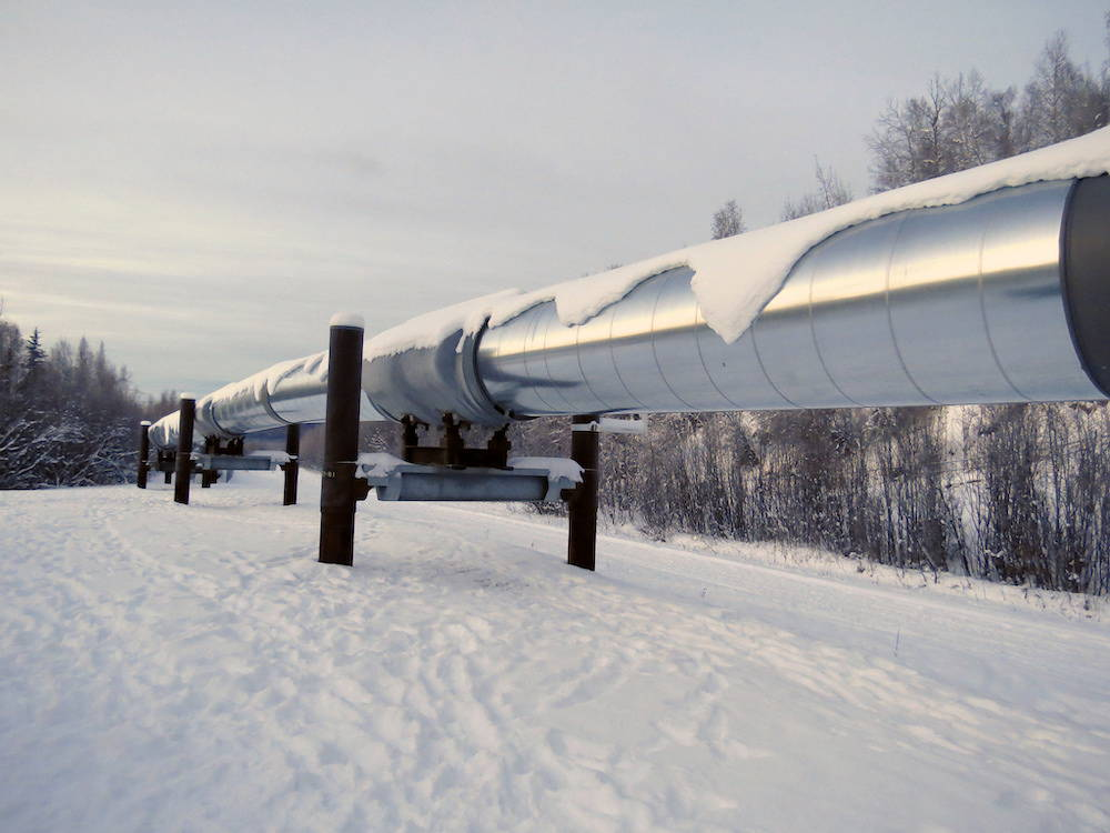An oil pipeline bisects a snowy forest in Alaska.
