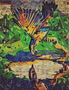 A hawk drinks from a lake. Collage made from MetroCards