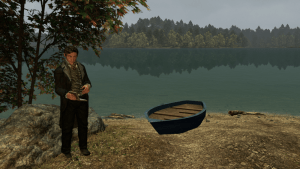 A screenshot of Walden, a Game shows a man standing by a boat on the shore of the pond.