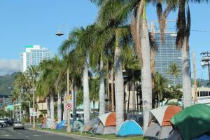 A street lined with tents and palm trees