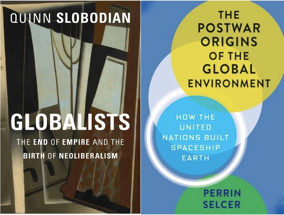 The two covers of Slobodian and Selcer's books, one a painting of a brown window and the other overlapping circles