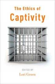 The cover of The Ethics of Captivity, a white background with a metal cell or cage