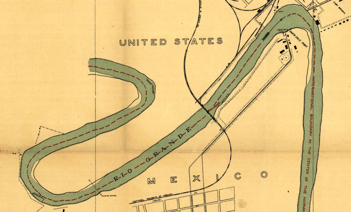 a portion of a map showing the rio grande as a border between the united states and mexico