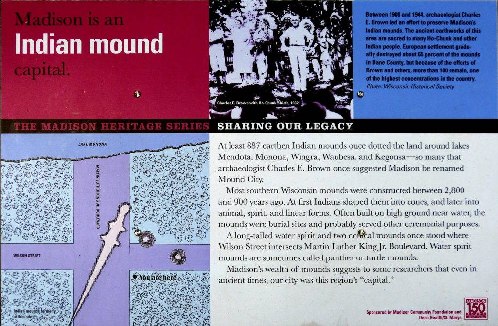 """""""Madison is an Indian Mound capital"""" sign."""