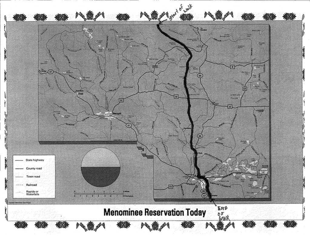 A black and white map showing trail systems on Menominee Reservation