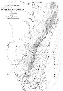 A black and white map of Wisconsin glacial movements