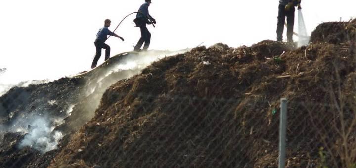 Laborers walk on a steaming pile of compost