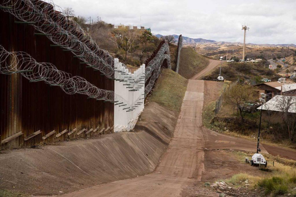 High fence runs along Mexico-U.S. border